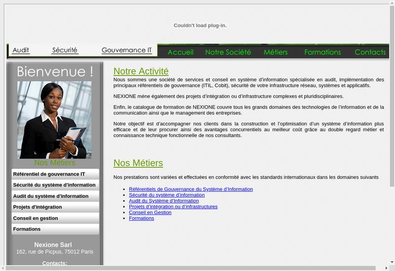 Capture d'écran du site de Nexione