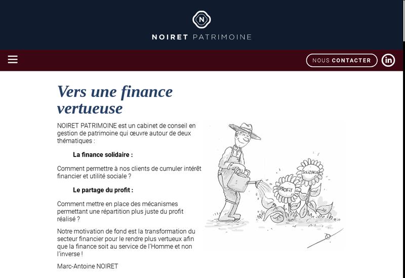 Capture d'écran du site de Noiret Patrimoine