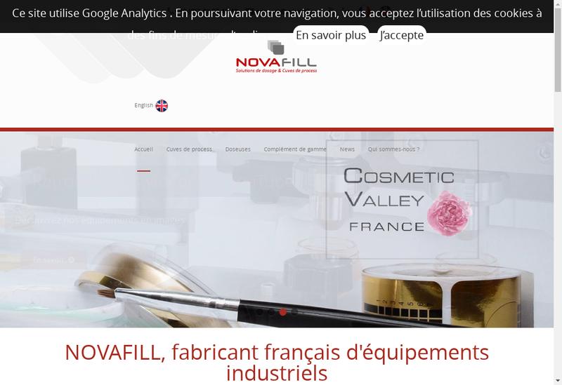 Capture d'écran du site de Novafill