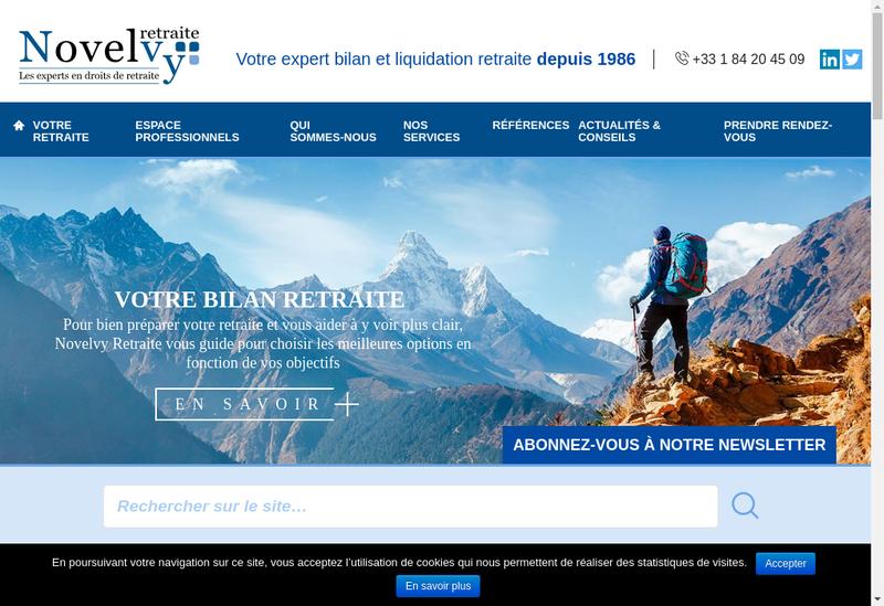 Capture d'écran du site de Novelvy - Assistance Retraite