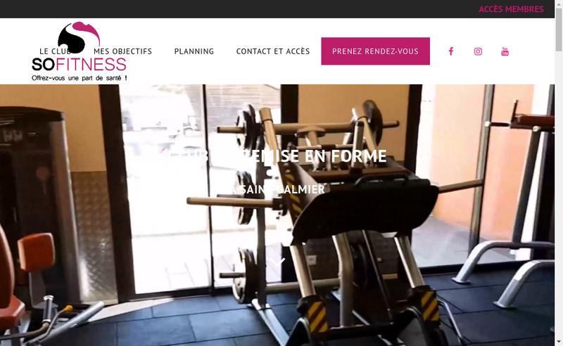 Capture d'écran du site de So Fitness