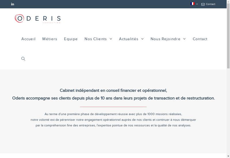 Capture d'écran du site de Oderis