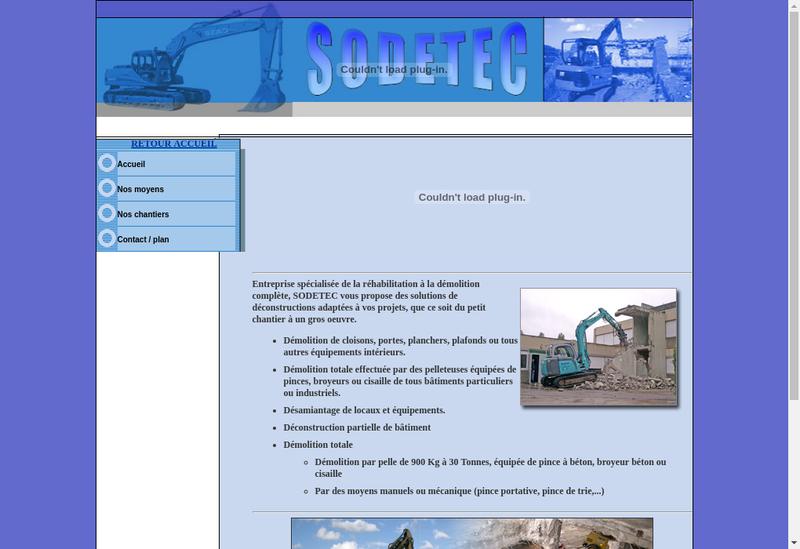Capture d'écran du site de Sodetec
