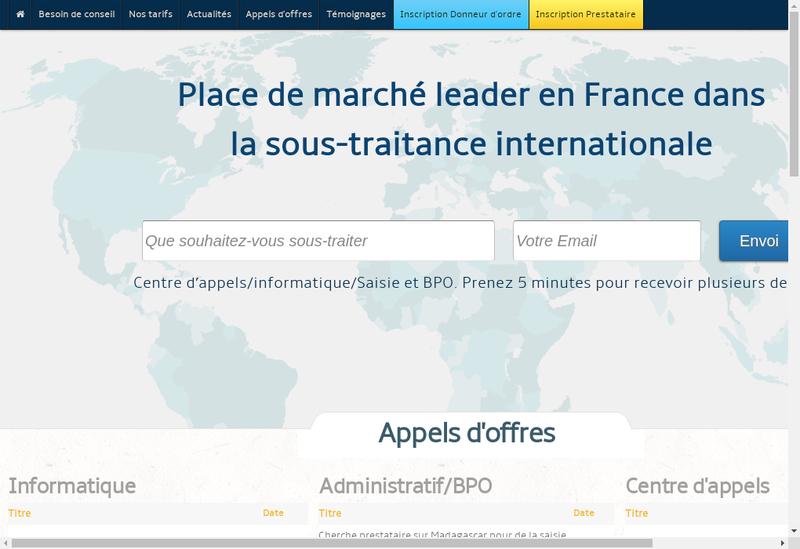 Capture d'écran du site de Offshore Developpement
