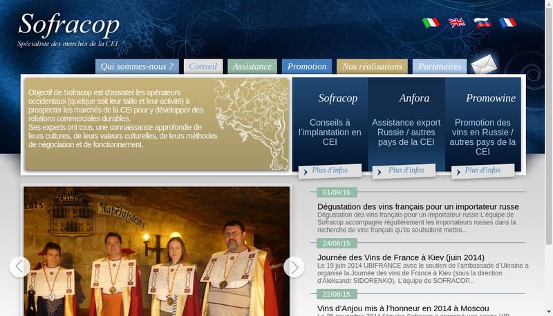 Capture d'écran du site de Sofracop