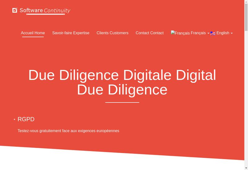 Capture d'écran du site de Software Continuity