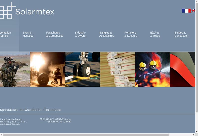 Capture d'écran du site de Solarmtex