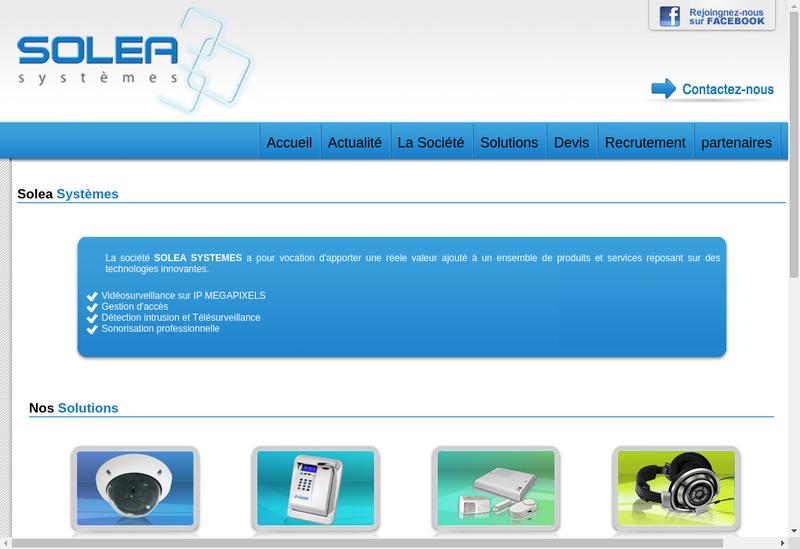 Capture d'écran du site de Solea Systemes