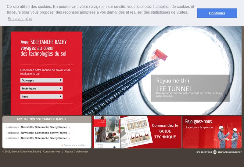 Capture d'écran du site de Soletanche Bachy Tunnels