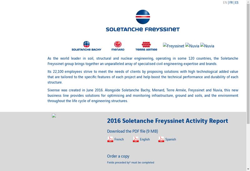 Capture d'écran du site de Soletanche Freyssinet Services