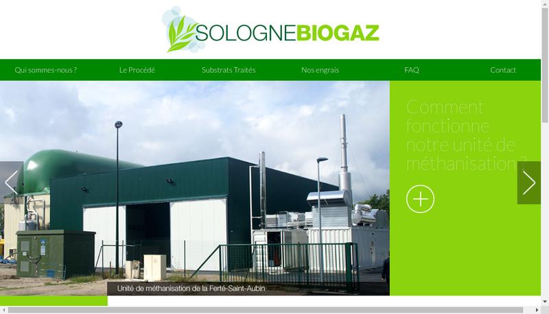 Capture d'écran du site de Sologne Biogaz