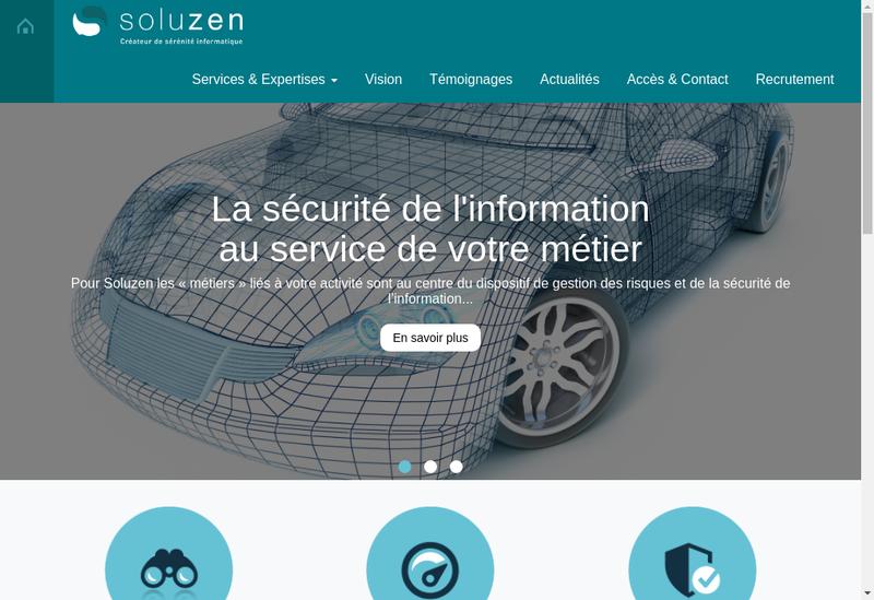 Capture d'écran du site de Soluzen