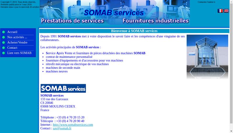 Capture d'écran du site de Somab
