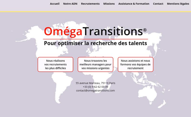 Capture d'écran du site de Omega Transitions