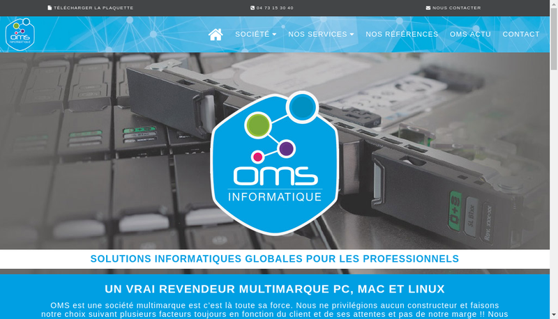 Capture d'écran du site de Oms - Oms Informatique