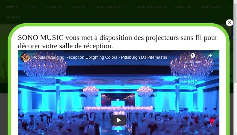 Capture d'écran du site de Sono Music