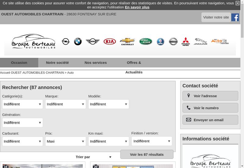 Capture d'écran du site de Ouest Automobiles Chartraine