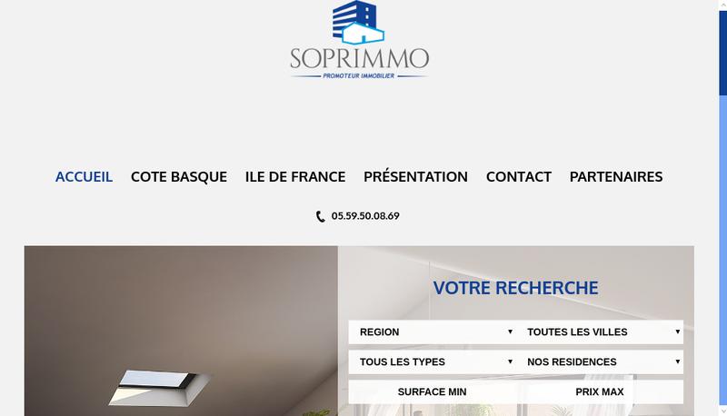 Capture d'écran du site de Soprimmo
