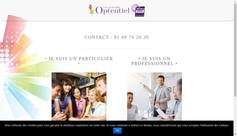 Capture d'écran du site de Les Ateliers Optentiel