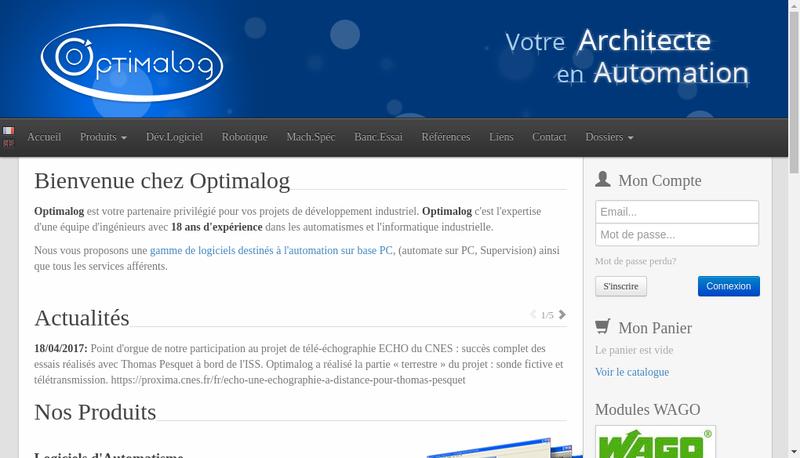 Capture d'écran du site de Optimalog