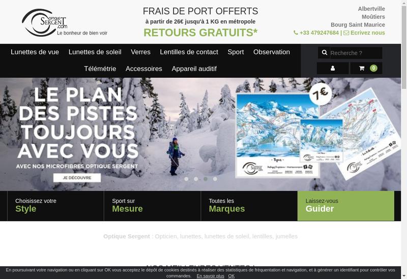 Capture d'écran du site de Optique Sergent