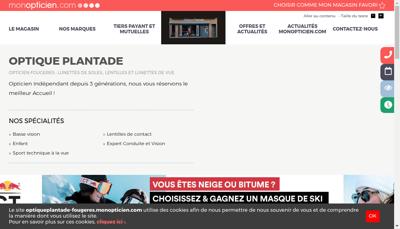 Capture d'écran du site de Optique Plantade