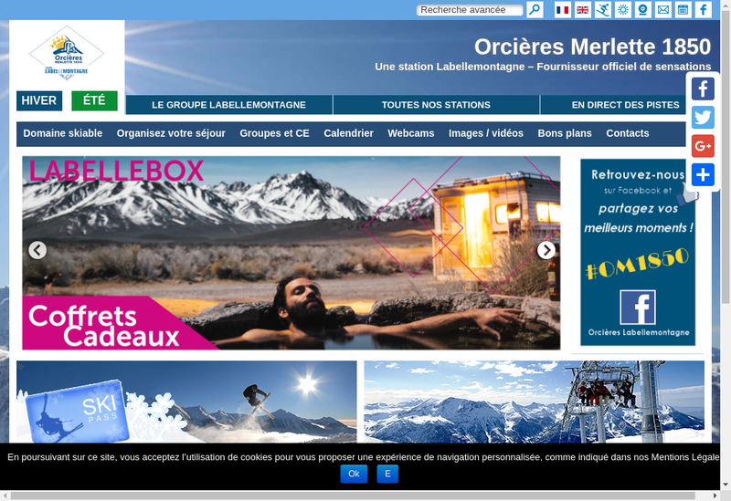 Capture d'écran du site de Orcieres Labellemontagne