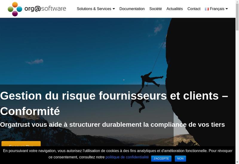 Capture d'écran du site de Orgasoftware
