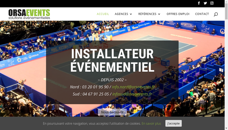 Capture d'écran du site de Orsa Events