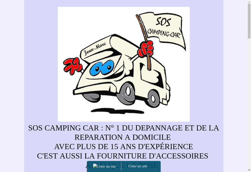 Capture d'écran du site de Sos Camping Car