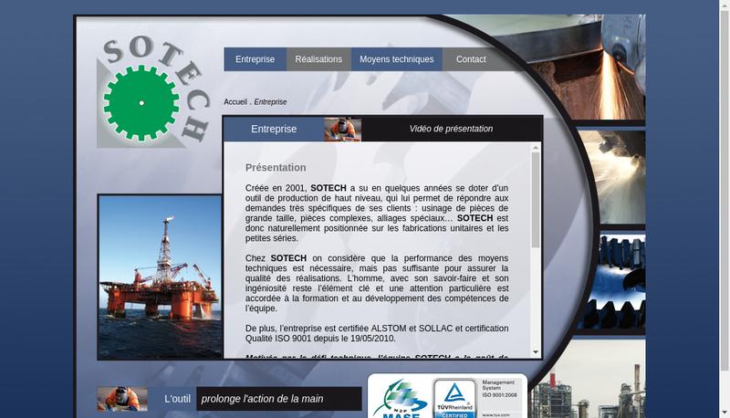 Capture d'écran du site de Sotech