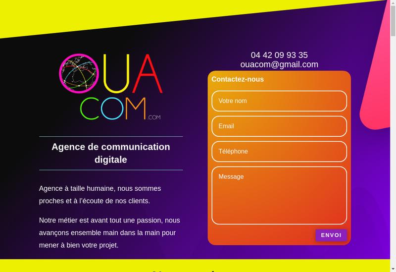 Capture d'écran du site de Ouacom