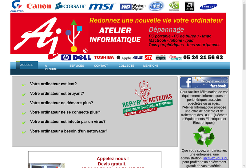 Capture d'écran du site de Franck