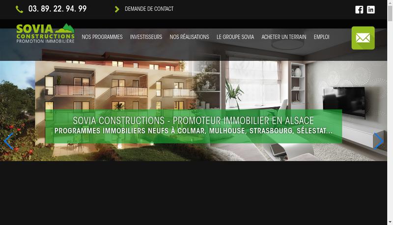 Capture d'écran du site de Sovia Constructions