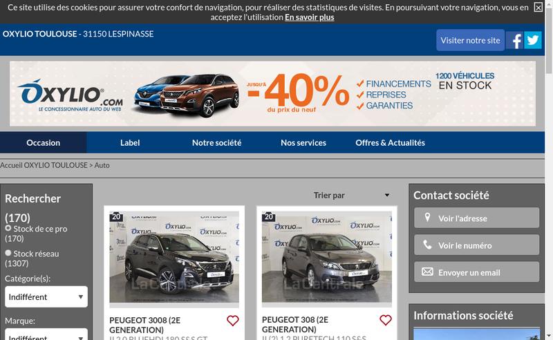 Capture d'écran du site de Oxylio Toulouse