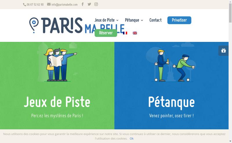 Capture d'écran du site de Paris Ma Belle