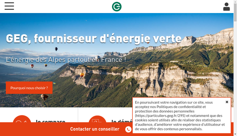 Capture d'écran du site de Gaz et Electricite de Grenoble
