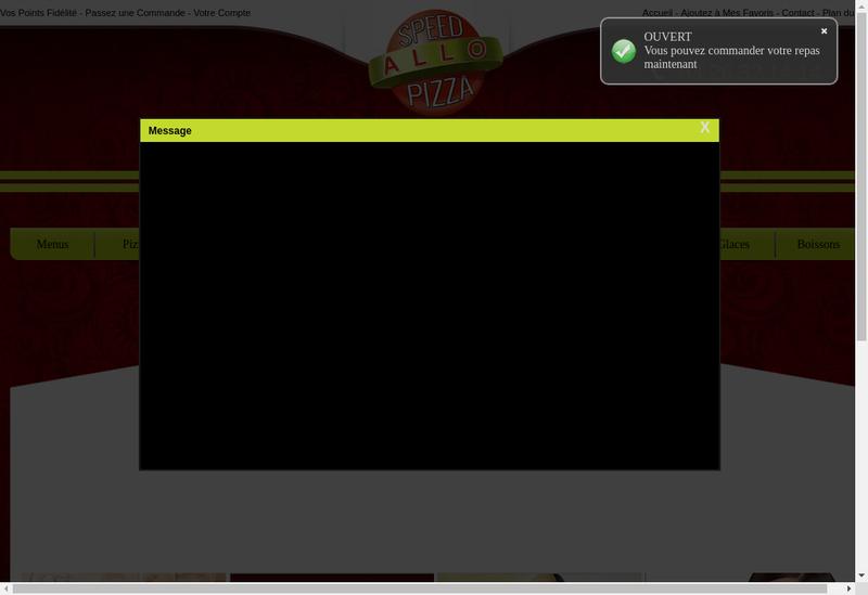 Capture d'écran du site de Speed Allo Pizza