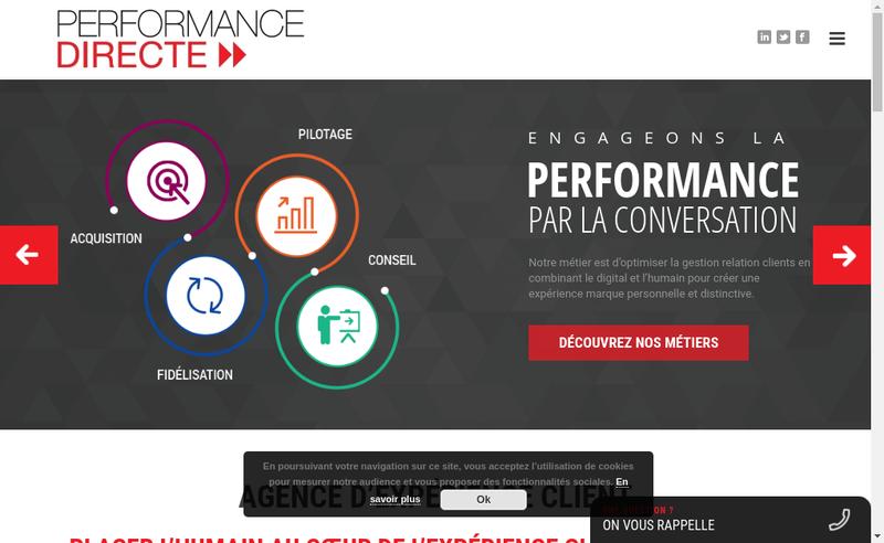 Capture d'écran du site de Performance Directe