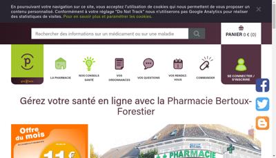 Capture d'écran du site de Pharmacie Bertoux Forestier