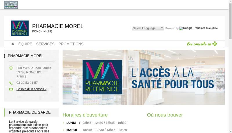 Capture d'écran du site de Pharmacie Morel