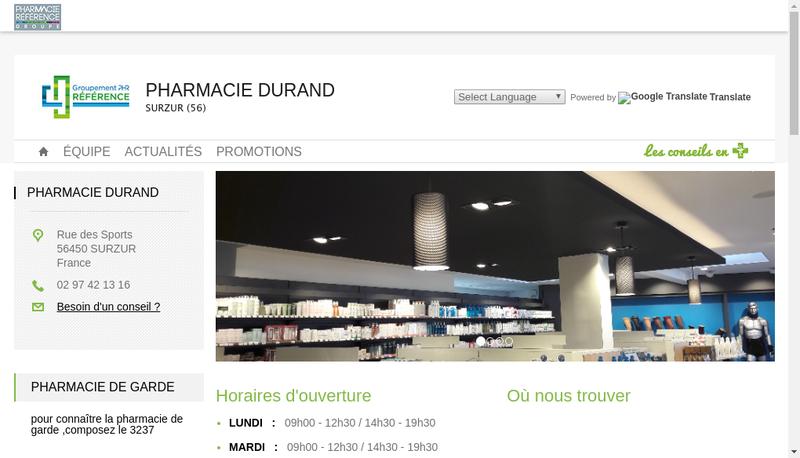 Capture d'écran du site de Pharmacie Durand