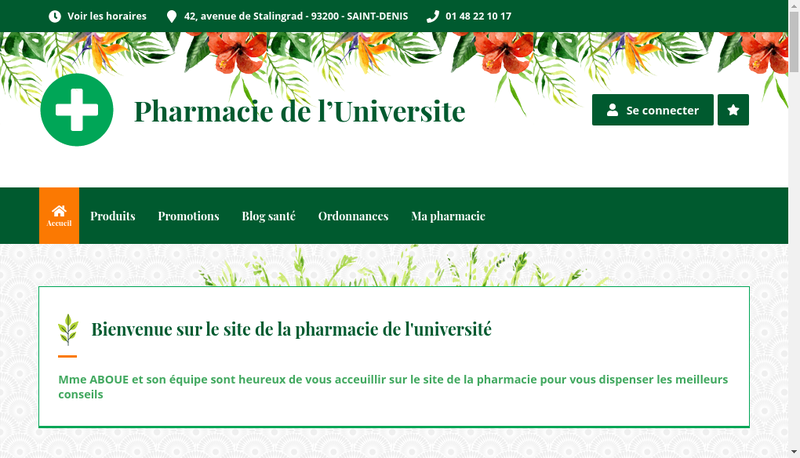 Capture d'écran du site de Pharmacie de l'Universite