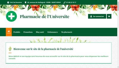 Site internet de Pharmacie de l'Universite