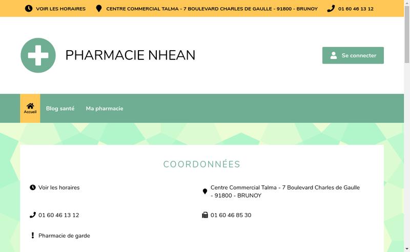 Capture d'écran du site de Pharmacie Nhean