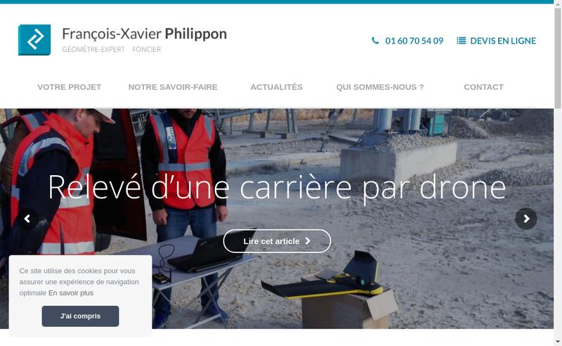 Capture d'écran du site de Cabinet Philippon Geometre-Expert