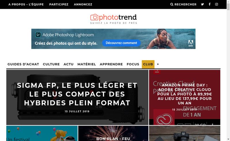 Capture d'écran du site de Phototrend