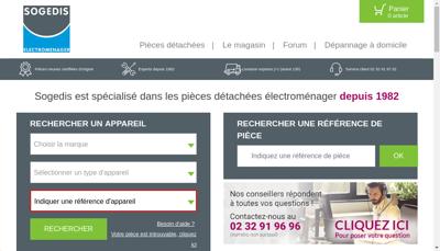 Capture d'écran du site de Sogedis
