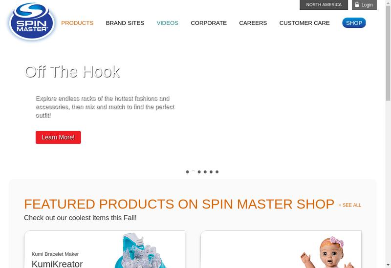 Capture d'écran du site de Spin Master