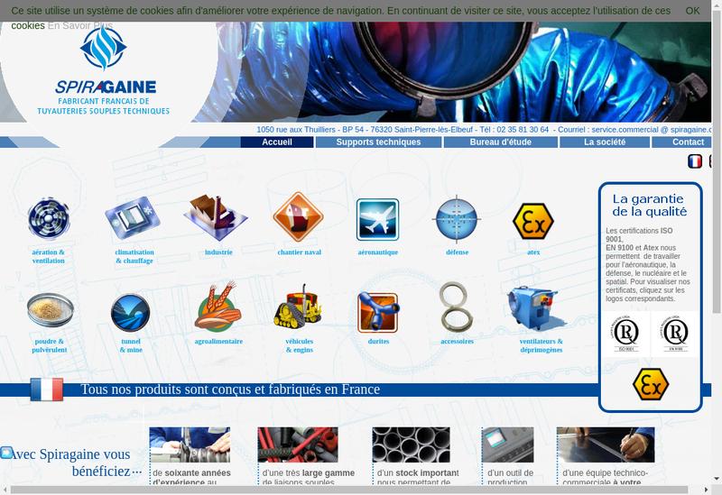 Capture d'écran du site de Spiragaine